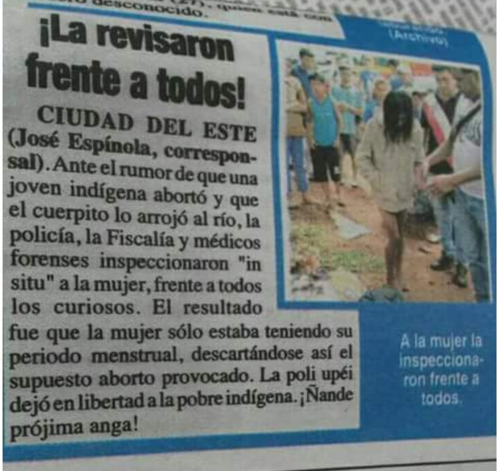 Esta noticia apareció en un periodico de Asunción, Paraguay