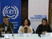 Patricio Dobreé, Clyde Soto del CDE. Myriam Agüero del Sindicato de Trabajadoras Domésticas del Paraguay.