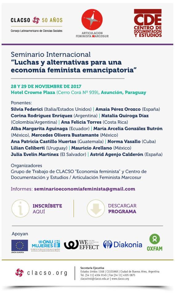 """Seminario Internacional """"Luchas y alternativas para una economía feminista emancipatoria"""""""